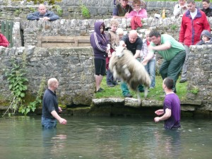 "The author's husband demonstrating the art of ""sheepwashing""."